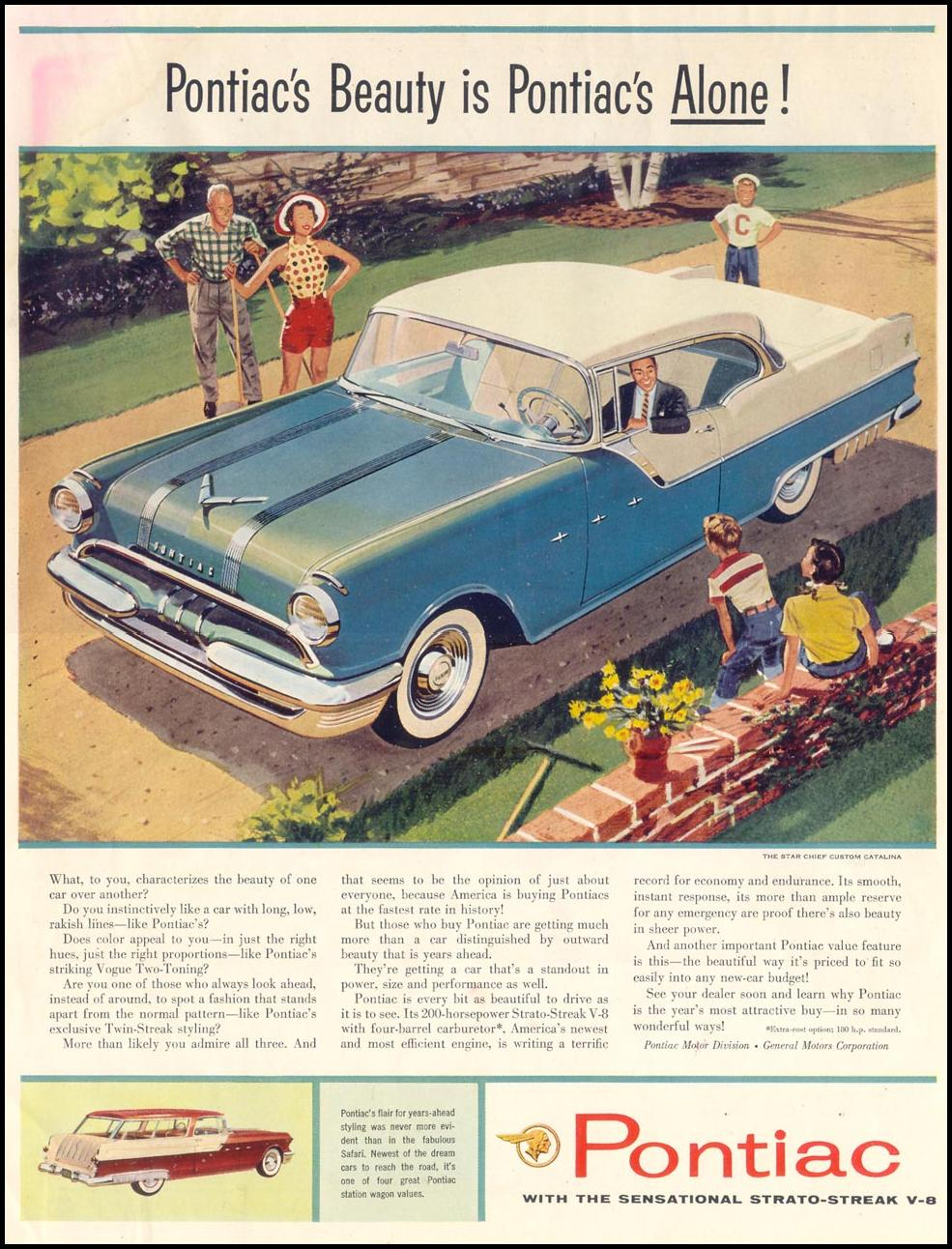 PONTIAC AUTOMOBILES SATURDAY EVENING POST 09/03/1955 INSIDE FRONT