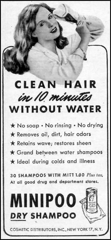 MINIPOO DRY SHAMPOO WOMAN'S DAY 02/01/1947 p. 98
