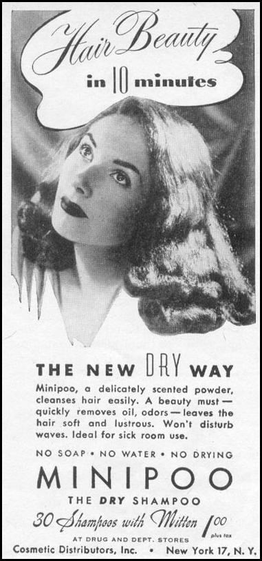 MINIPOO DRY SHAMPOO WOMAN'S DAY 11/01/1945 p. 106
