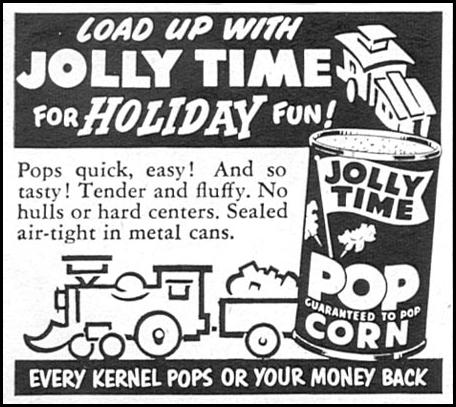 JOLLY TIME POPCORN WOMAN'S DAY 12/01/1954 p. 134