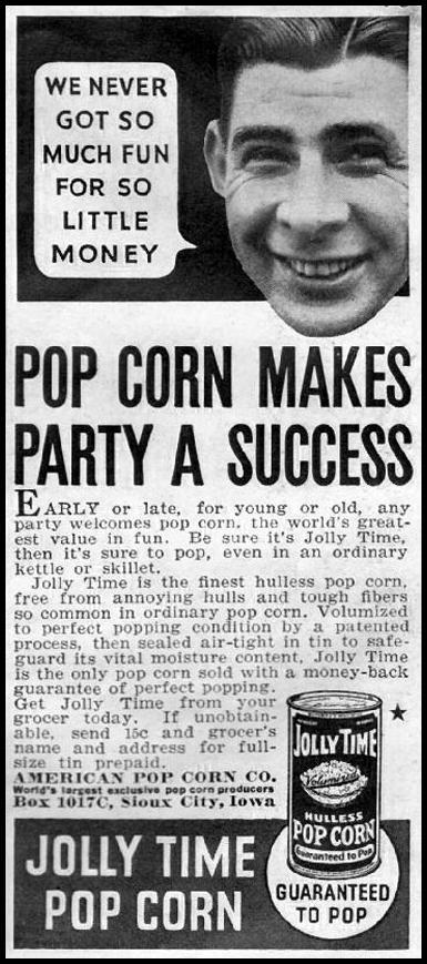 JOLLY TIME POPCORN GOOD HOUSEKEEPING 12/01/1935 p. 193