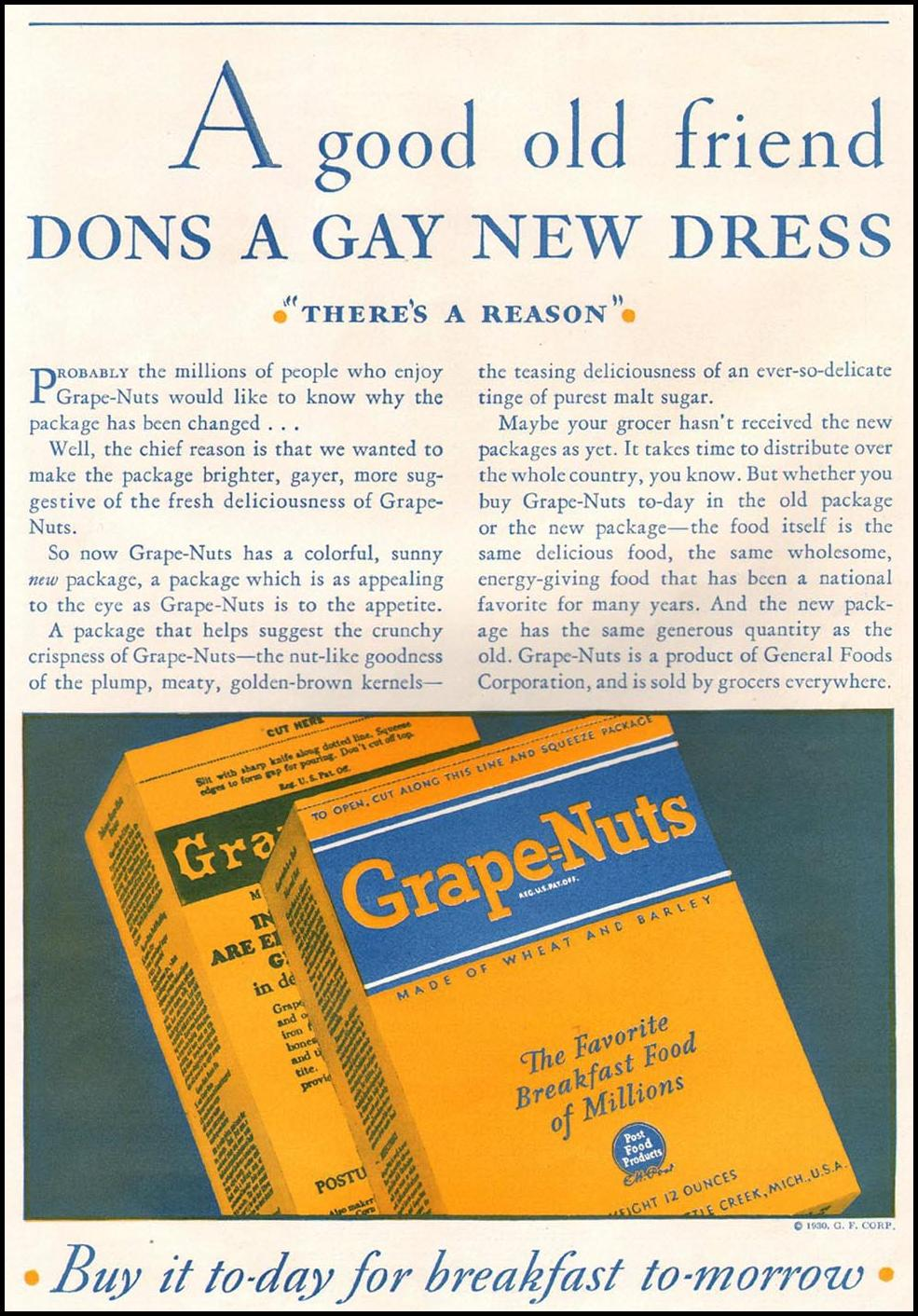 POST GRAPE NUTS CEREAL BETTER HOMES AND GARDENS 10/01/1930 p. 75