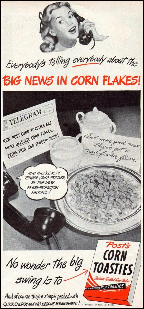 POST CORN TOASTIES CEREAL WOMAN'S DAY 06/01/1947 p. 85