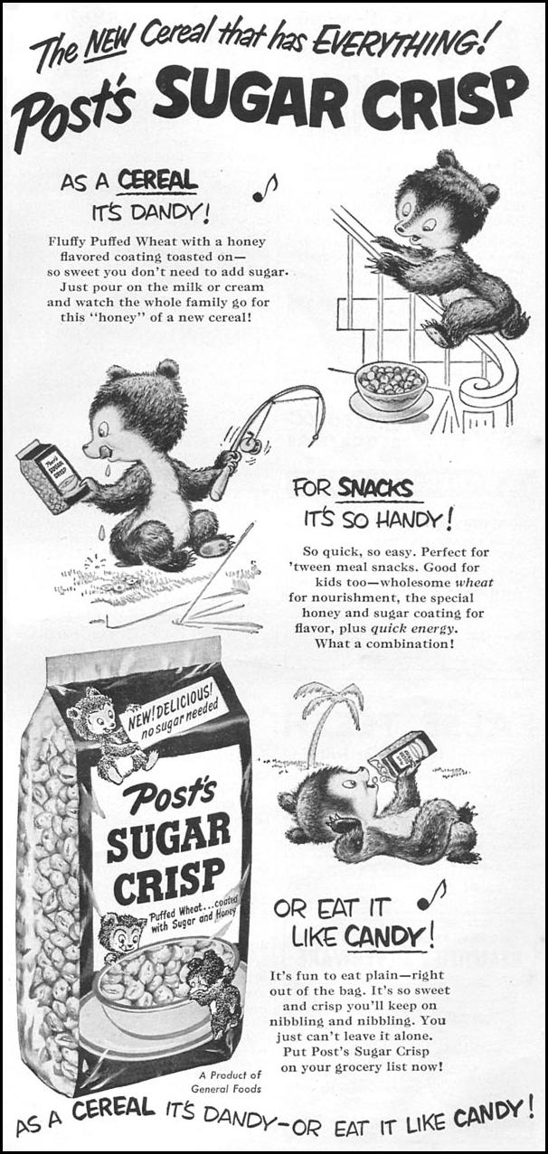 POST SUGAR CRISP CEREAL WOMAN'S DAY 06/01/1950 p. 113