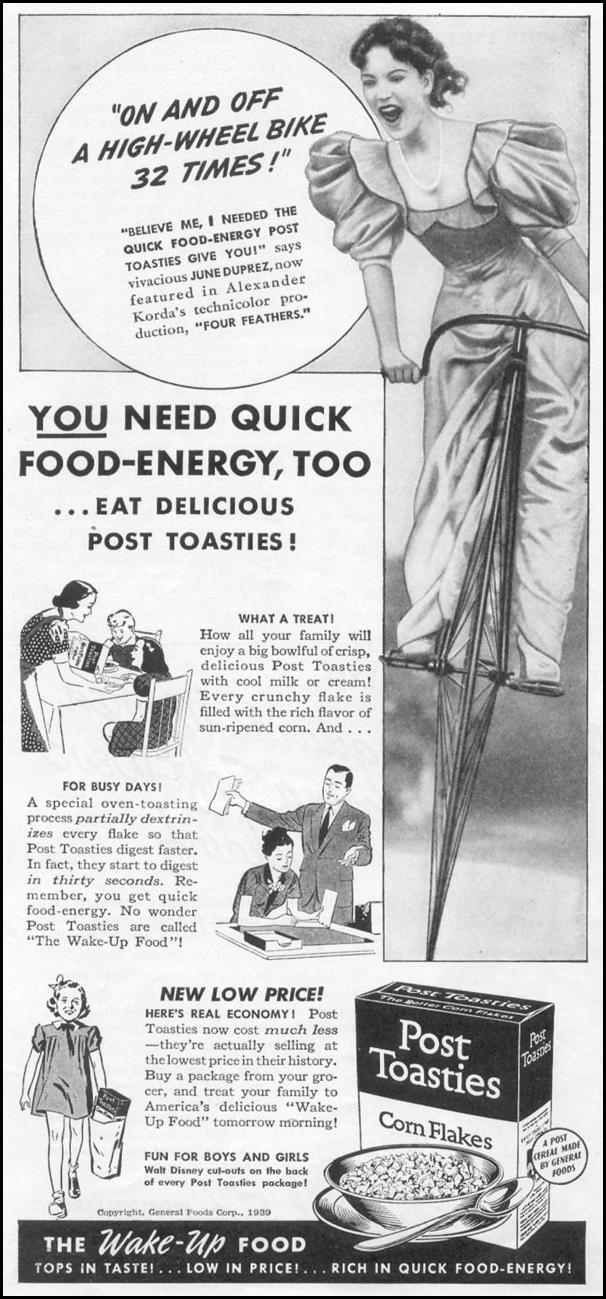 POST TOASTIES CORN FLAKES WOMAN'S DAY 10/01/1939 p. 36