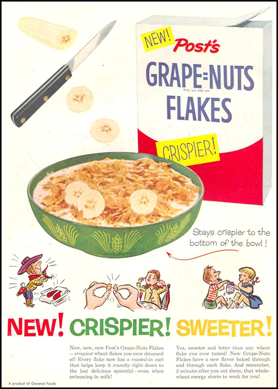 POST'S GRAPE-NUT FLAKES WOMAN'S DAY 10/01/1954 INSIDE FRONT