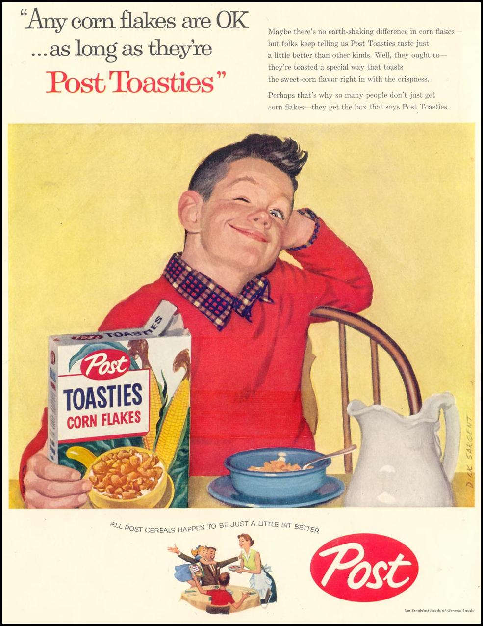 POST TOASTIES CEREAL LIFE 03/18/1957 INSIDE FRONT