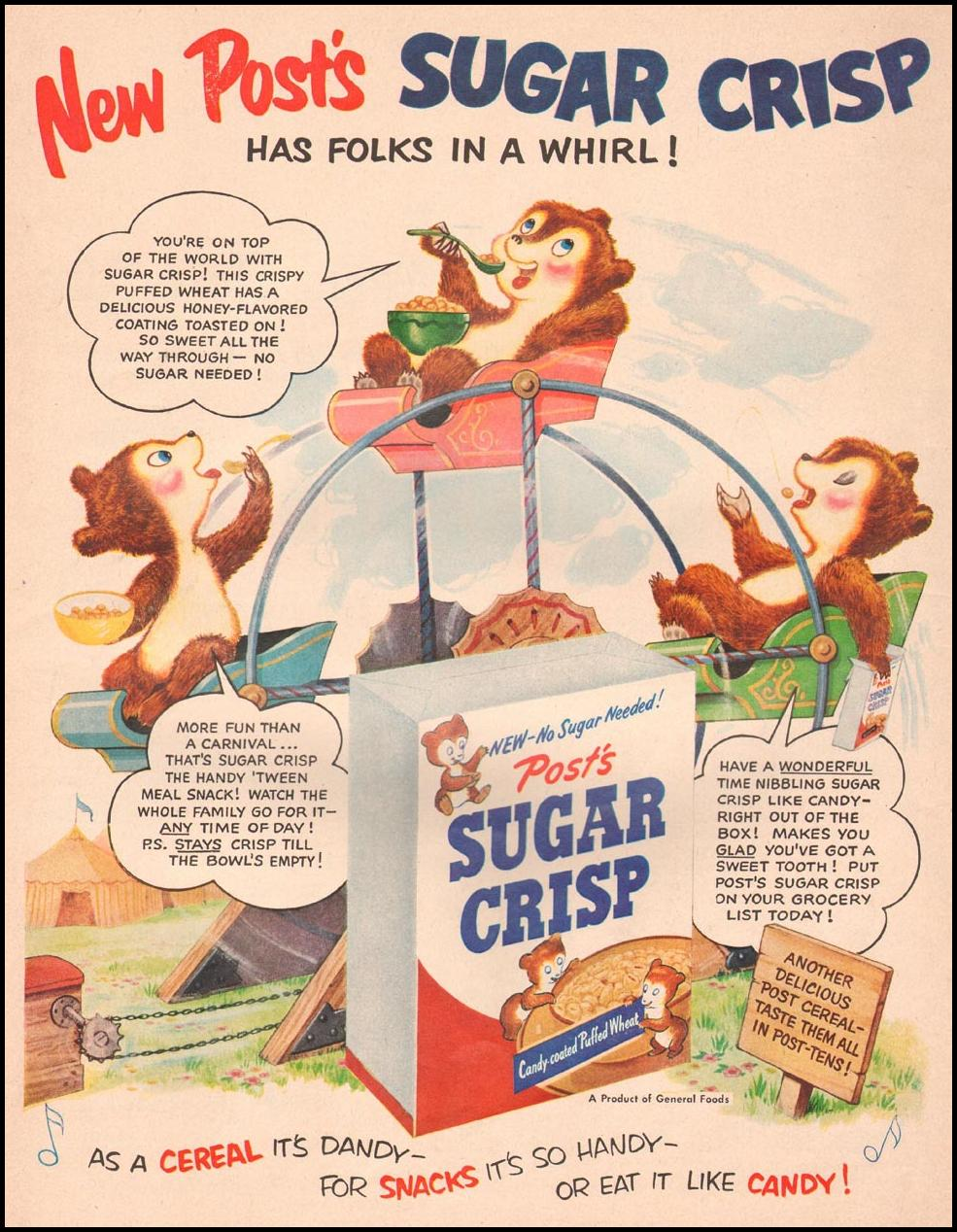 POST SUGAR CRISP CEREAL LIFE 09/03/1951 p. 42