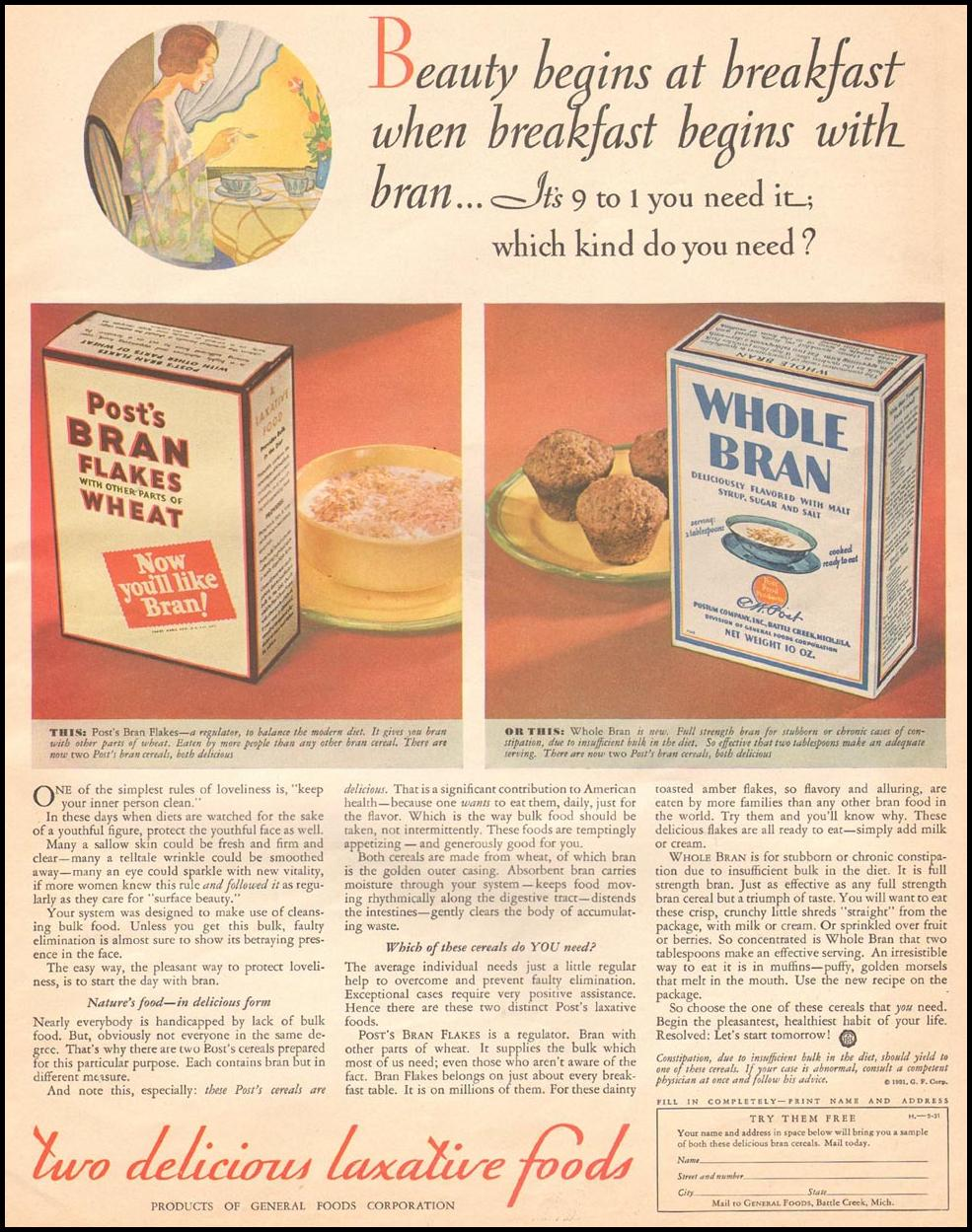 POST BRAN FLAKES CEREAL THE HOME MAGAZINE 05/01/1931 p. 43