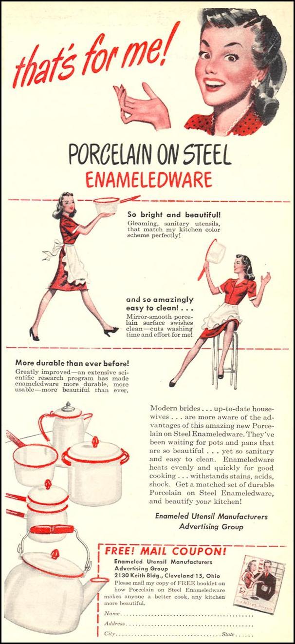 PORCELAIN ON STEEL ENAMELEDWARE WOMAN'S DAY 06/01/1946 p. 3