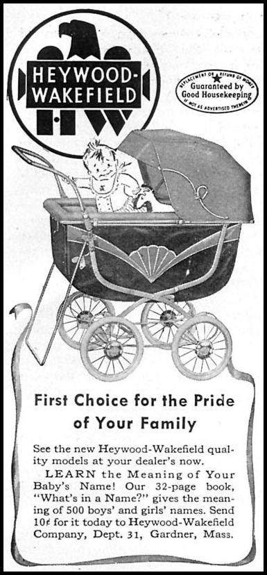 HEYWOOD-WAKEFIELD BABY STROLLER WOMAN'S DAY 04/01/1949 p. 95