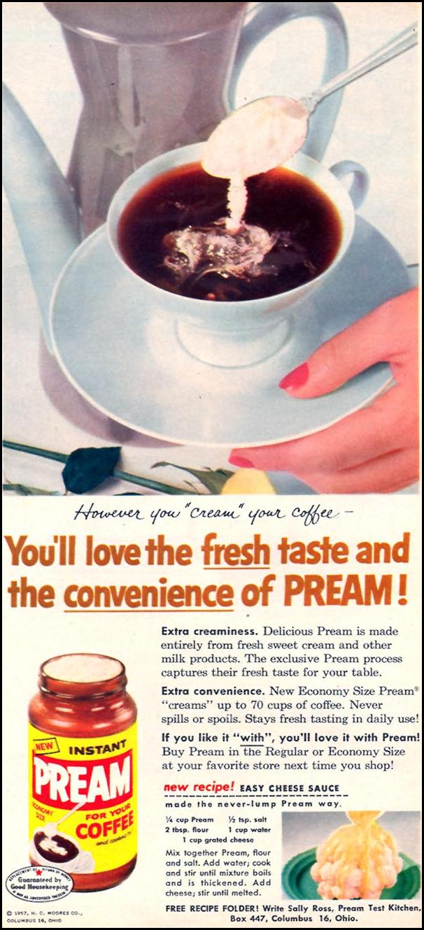 PREAM INSTANT CREAMER FAMILY CIRCLE 02/01/1958 p. 21