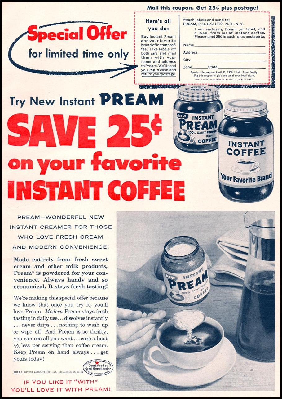 PREAM COFFEE CREAMER WOMAN'S DAY 04/01/1956 p. 11