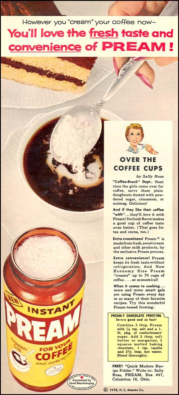PREAM COFFEE CREAMER WOMAN'S DAY 06/01/1958 p. 22