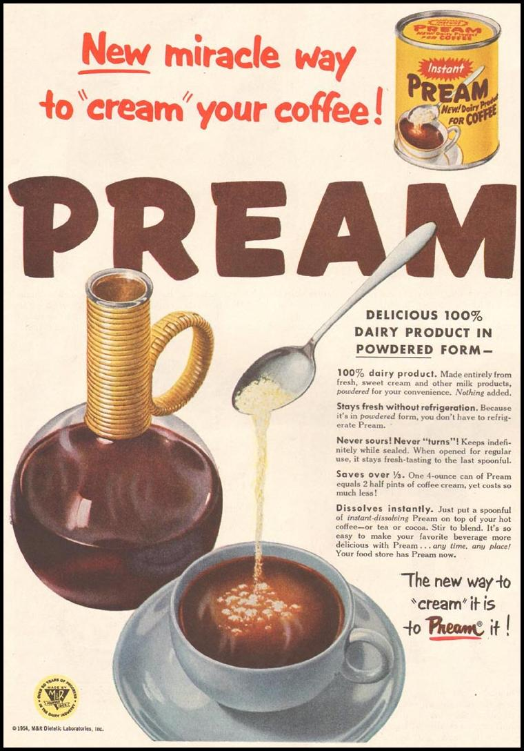 PREAM COFFEE CREAMER LADIES' HOME JOURNAL 03/01/1954 p. 98