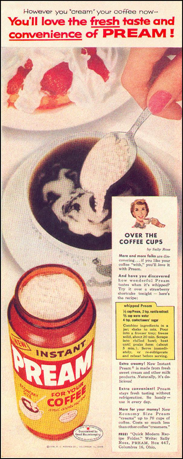 PREAM COFFEE CREAMER LOOK 09/16/1958