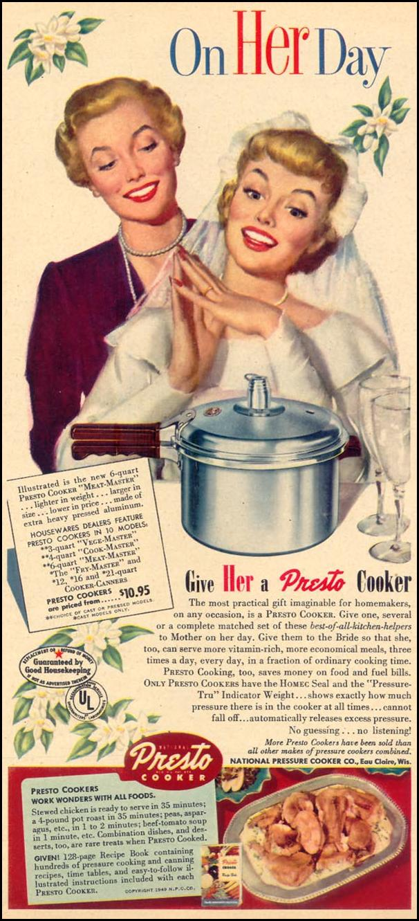 PRESTO COOKERS WOMAN'S DAY 05/01/1949 p. 13