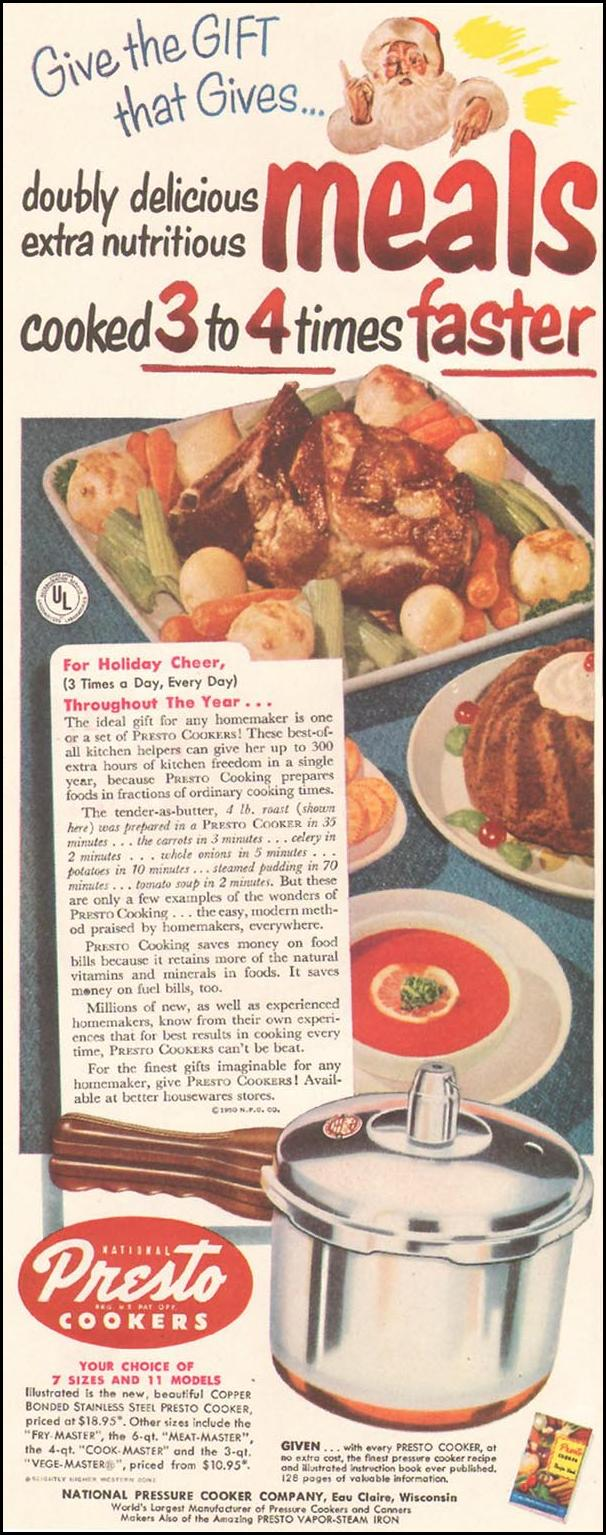 PRESTO COOKERS LADIES' HOME JOURNAL 11/01/1950 p. 223