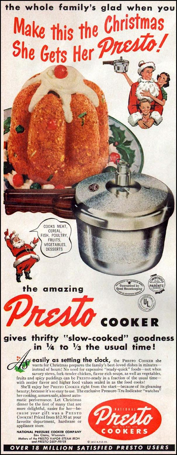 PRESTO COOKERS WOMAN'S HOME COMPANION 12/01/1952 p. 12