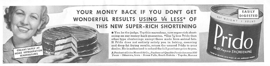 PRIDO SHORTENING GOOD HOUSEKEEPING 04/01/1936 p. 258