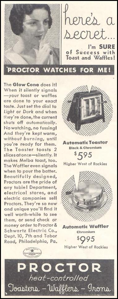 PROCTOR HEAT-CONTROLLED WAFFLERS GOOD HOUSEKEEPING 11/01/1933 p. 212