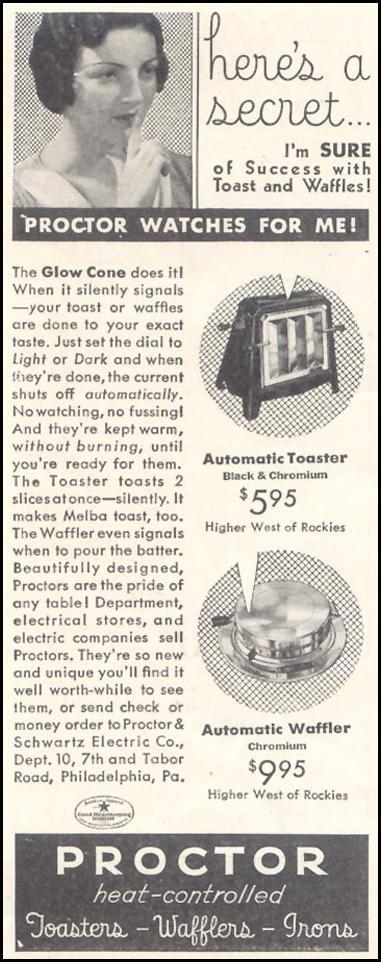 PROCTOR HEAT-CONTROLLED WAFFLERS GOOD HOUSEKEEPING 11/01/1933 p. 212