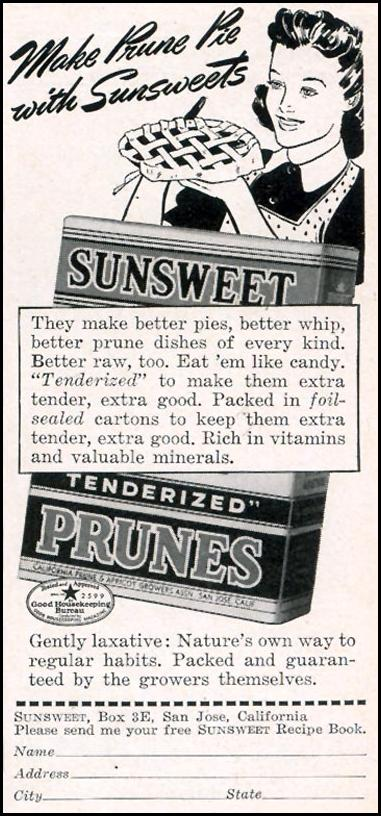 SUNSWEET PRUNES WOMAN'S DAY 11/01/1940 p. 63