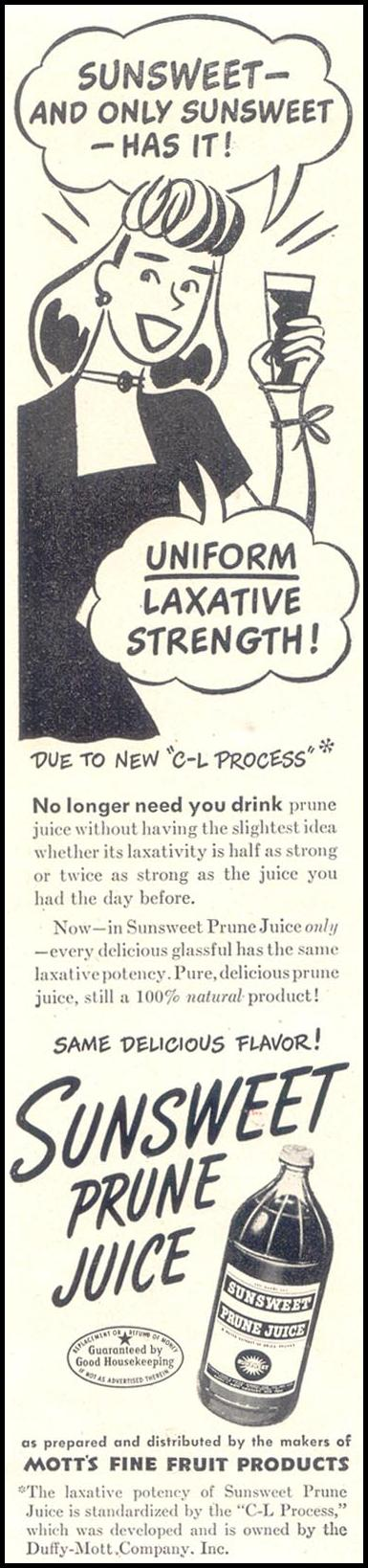SUNSWEET PRUNE JUICE GOOD HOUSEKEEPING 07/01/1949 p. 16