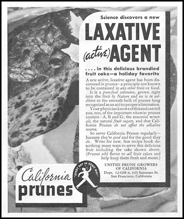 CALIFORNIA PRUNES GOOD HOUSEKEEPING 12/01/1934 p. 198