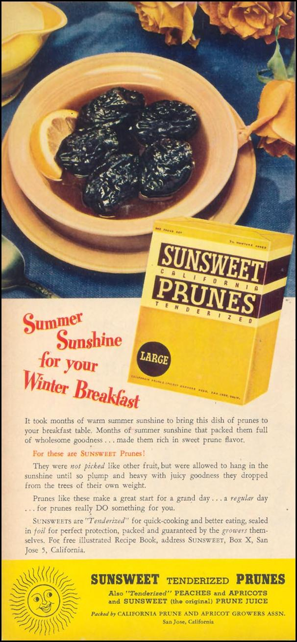 SUNSWEET TPRUNES WOMAN'S DAY 02/01/1947 p. 62