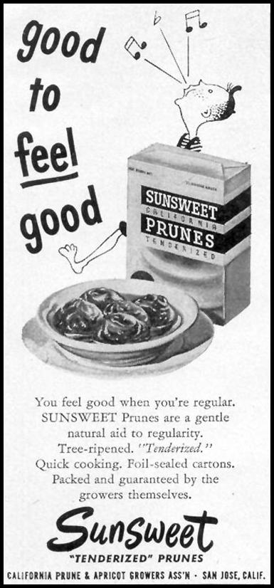 SUNSWEET PRUNES WOMAN'S DAY 02/01/1950 p. 146