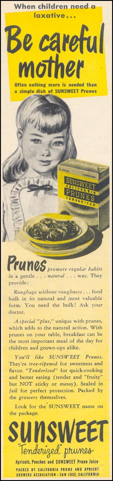 SUNSWEET PRUNES WOMAN'S DAY 10/01/1948 p. 80