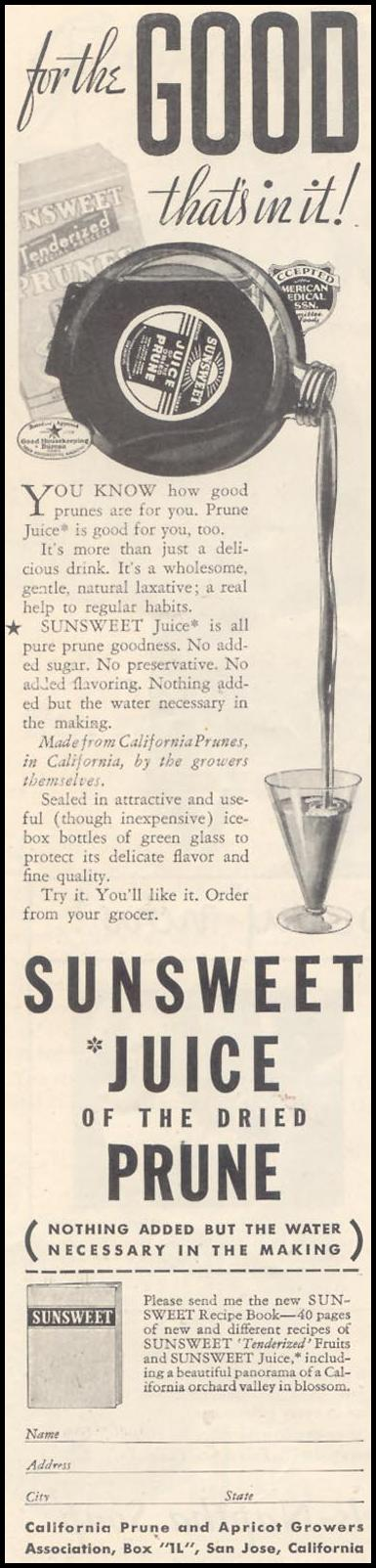SUNSWEET PRUNE JUICE GOOD HOUSEKEEPING 03/01/1935 p. 98