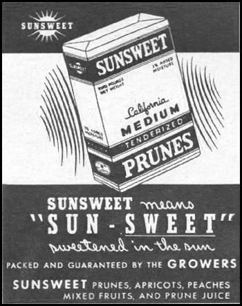 SUNSWEET PRUNES LIFE 10/25/1943 p. 92