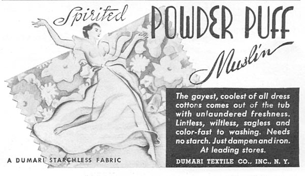 DUMARI POWDER PUFF MUSLIN GOOD HOUSEKEEPING 04/01/1936 p. 223