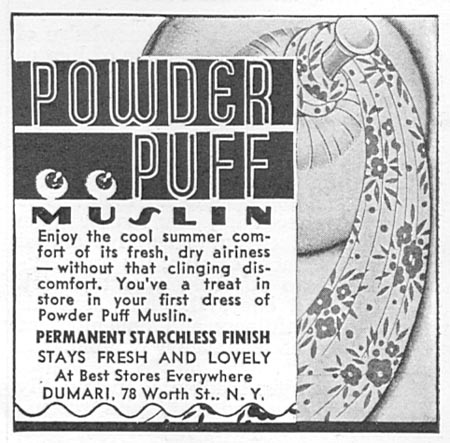 DUMARI POWDER PUFF MUSLIN GOOD HOUSEKEEPING 06/01/1935 p. 202