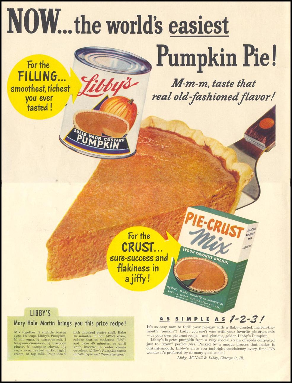 LIBBY'S SOLID PACK CUSTARD PUMPKIN LIFE 11/15/1948