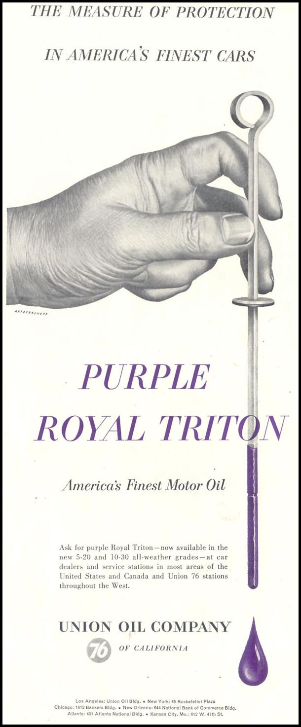 PURPLE ROYAL TRITON MOTOR OIL SATURDAY EVENING POST 06/04/1955 p. 91
