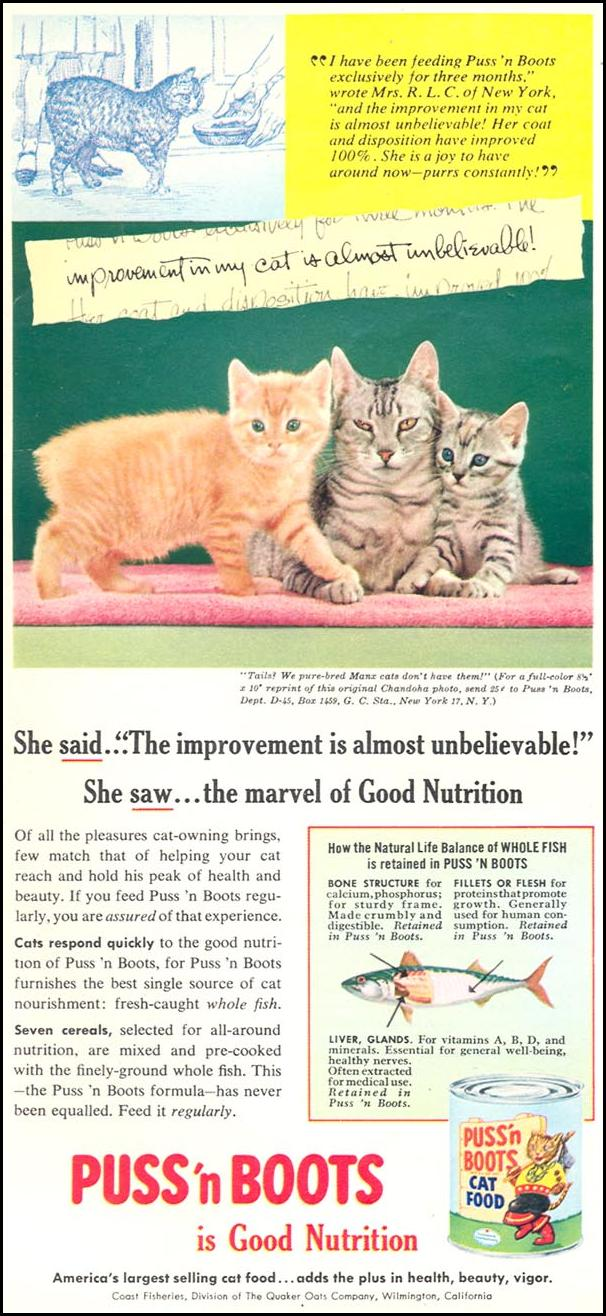 PUSS 'N BOOTS CAT FOOD WOMAN'S DAY 09/01/1955 p. 90