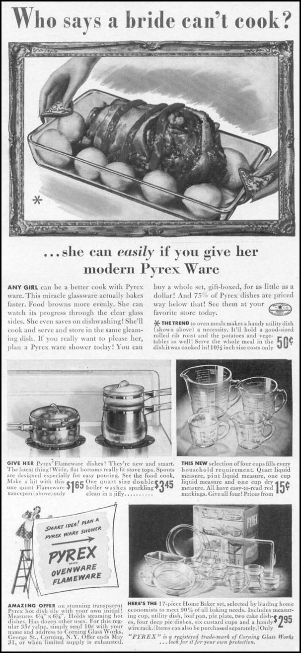 PYREX OVENWARE WOMAN'S DAY 05/01/1941 p. 57