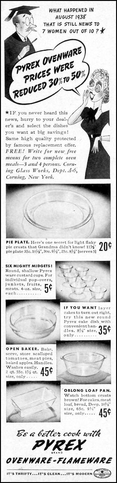 PYREX OVENWARE WOMAN'S DAY 08/01/1940 p. 5