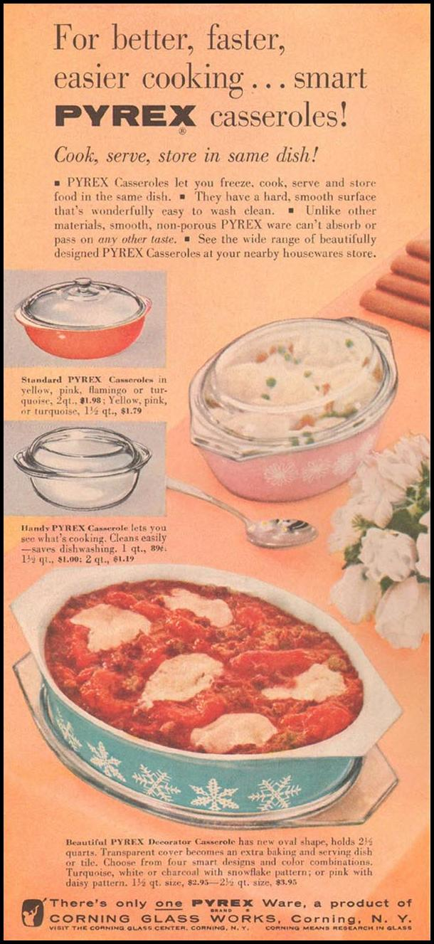 PYREX CASSEROLES GOOD HOUSEKEEPING 05/01/1957 p. 170