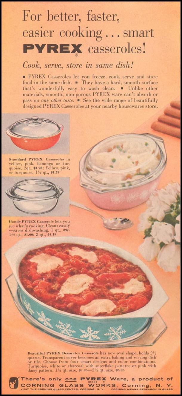 PYREX CASSEROLES GOOD HOUSEKEEPING 05/01/1957 p. 170