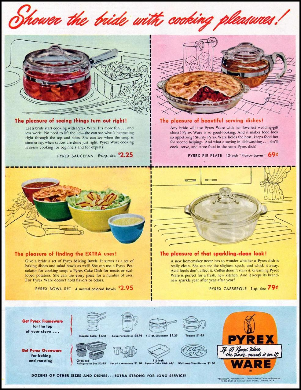 PYREX WARE LADIES' HOME JOURNAL 06/01/1949 p. 153