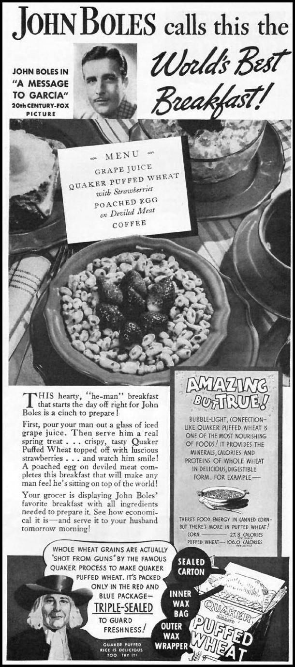 QUAKER PUFFED WHEAT CEREAL BETTER HOMES AND GARDENS 05/01/1936 p. 85