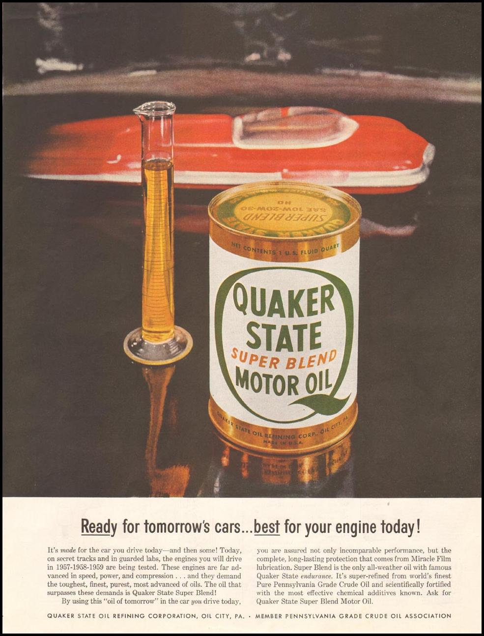 QUAKER STATE MOTOR OIL SATURDAY EVENING POST 10/29/1955 p. 93