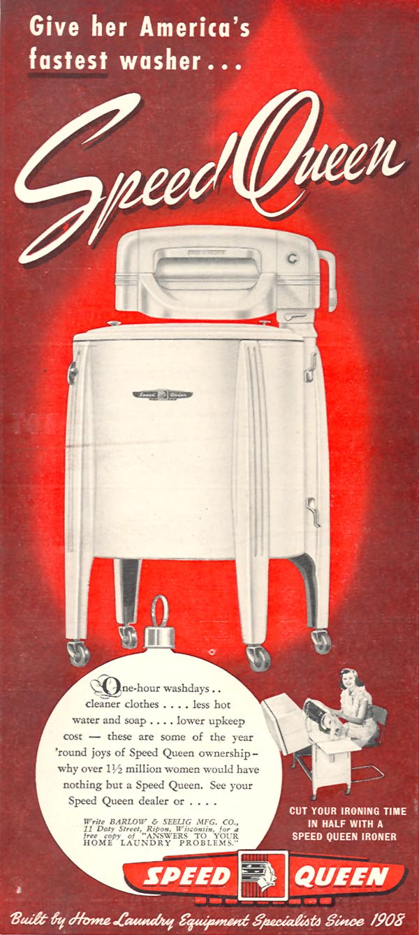 SPEED QUEEN WASHING MACHINE WOMAN'S DAY 12/01/1948 p. 80