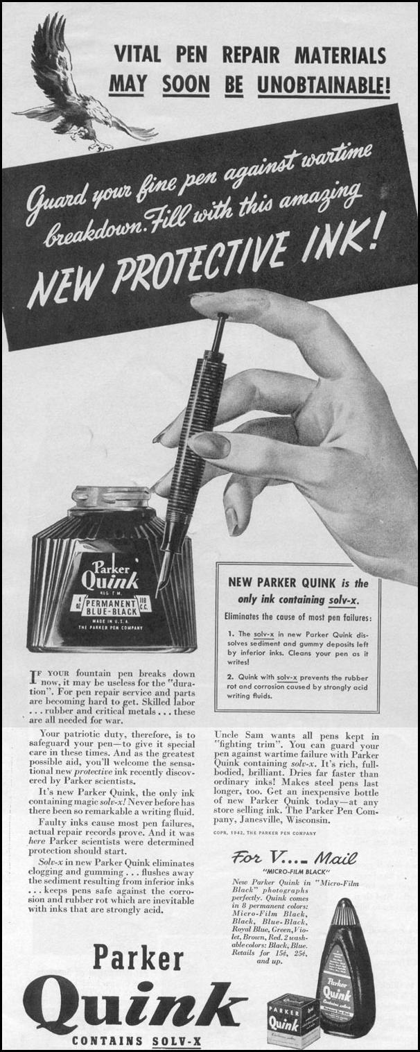 PARKER QUINK LIFE 11/02/1942
