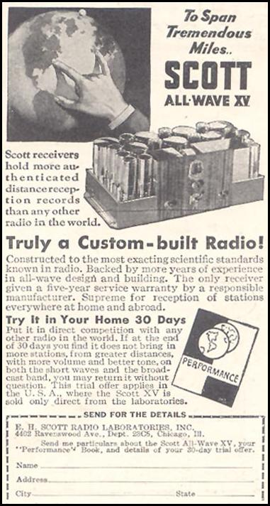 SCOTT ALL-WAVE XV RADIO GOOD HOUSEKEEPING 03/01/1935 p. 221