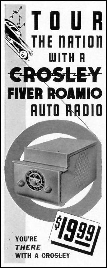 CROSLEY FIVER ROAMIO AUTO RADIO